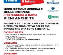 IL18 FEBBRAIO A ROMA PER LA MOBILITAZIONE LANCIATA DA RETE IMPRESE ITALIA